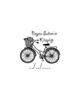 Çiçekli Bisiklet İsme Özel Mühür