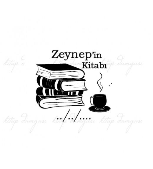 Kitaplar ve Kahve Temalı Damga