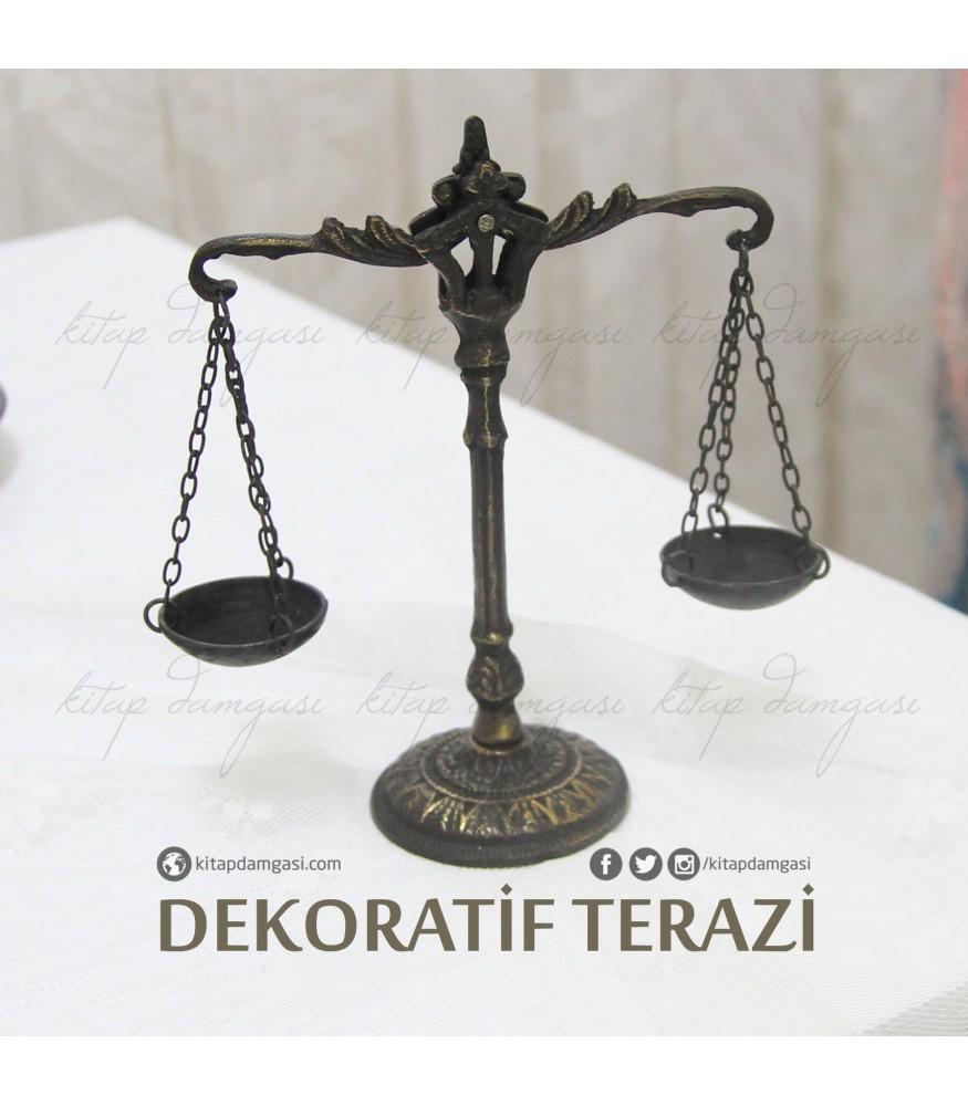 minyatur bronz adalet terazisi
