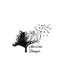 Ağaç ve Uçan Kuşlar - İsme Özel Damga