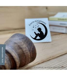 Ay'da Kitap Okuyan Küçük Çocuk - Kişiye Özel Kitap Damgası
