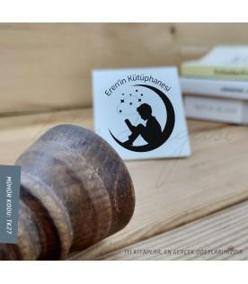 Ay'da Kitap Okuyan Küçük Kız - Kişiye Özel Kitap Damgası